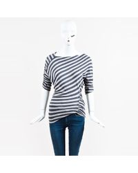 Vivienne Westwood Anglomania - Grey Striped Ruched Ss Top - Lyst