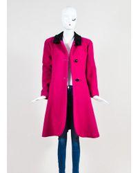 Dior - Magenta Pink And Black Velvet Collar Structured Coat - Lyst