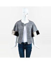 Sachin & Babi - Grey Wool Blend & Rabbit Fur Open Front Jacket - Lyst