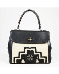 "Ralph Lauren - Black Cream Patterned Canvas & Leather ""tiffin 33"" Shoulder Bag - Lyst"