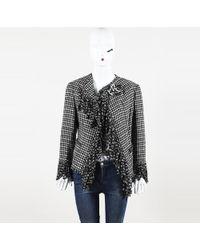 Chanel - Houdstooth Silk Wool Fringe Jacket - Lyst