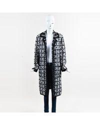 ESCADA - Black & White Boucle Tweed Long Buttoned Coat Sz 38 - Lyst