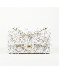 Chanel - White Multicolor Beaded Medium Flap Bag - Lyst