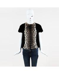 Dior - Nwt Black Multicolor Mink Fur Leopard Print Split Back Top - Lyst