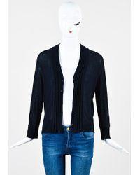 Nicole Farhi - Navy Blue Knit Pleated Trim Button Down Cardigan - Lyst