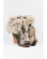 Etro | Brown Green Leather Woollen Fur Trim Wedge Heel Lace Up Boots | Lyst