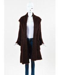 Hermès - Brown Mohair & Wool Blend Shawl Coat - Lyst