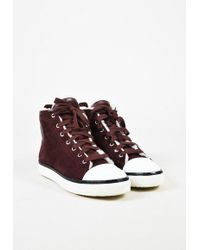 Hermès | Burgundy Red Suede & Shearling Lace Up High Top Trainers | Lyst