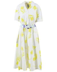 Rosie Assoulin - White Yellow Floral Belted Shirt Dress - Lyst