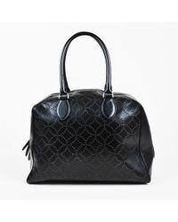 Alaïa - Black Laser Cut Leather Double Handle Dome Bag - Lyst
