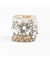 "Mignonne Gavigan - Nwt ""nude"" Beige Faux Pearl Bead & Sequined Cuff Bracelet - Lyst"