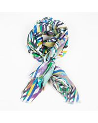 Matthew Williamson - Geometric Print Cashmere Silk Multicolour Scarf - Lyst
