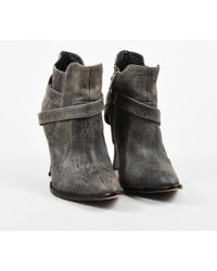 "Elizabeth and James - Gray Textured Leather ""e-boss"" Ankle Boots - Lyst"