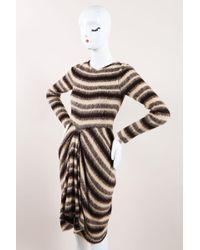 Thakoon - Nwt Tan Brown Grey Woollen Knit Stripe Draped Jumper Dress - Lyst