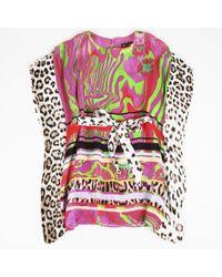 Roberto Cavalli - Printed Silk Top - Lyst