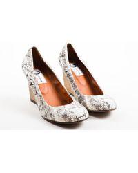 4ef0c4dd64a Lanvin - Cream Black Snakeskin Wooden Wedge Heel Ballerina Pumps - Lyst