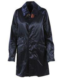 Ralph Lauren - Navy Satin Collared Long Coat - Lyst