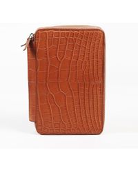 "Dunhill - Brown Alligator Skin & Leather Custom ""bourdon"" Organizer - Lyst"