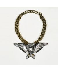 Lanvin - Gold Tone Metal & Crystals Eagle Pendant Chain Link Necklace - Lyst