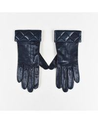 Chanel - Blue Leather Quilted Trim Gloves - Lyst