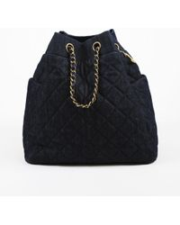 Chanel - Blue Washed Denim & Leather Quilted Bucket Bag - Lyst