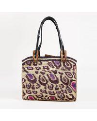Jamin Puech - Beige Multicolour Raffia Leopard Shoulder Bag - Lyst