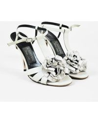 Lanvin - Beige Leather Cut Out Mesh Rosette Heeled Sandals - Lyst