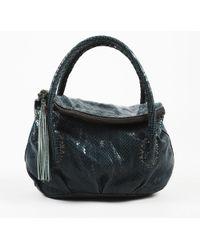 Henry Beguelin - Green Embossed Snakeskin Leather Top Handle Bag - Lyst