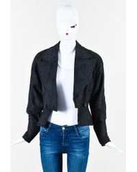 Hermès - Black Grey Wool Patterned Dolman Sleeve Peplum Blazer Jacket - Lyst