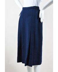 Chanel - Navy Wool Tweed Midi Length Two Pleat Skirt - Lyst