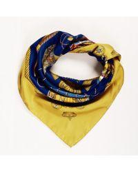 "Hermès - ""les Tambours"" Blue Gold Silk Scarf - Lyst"