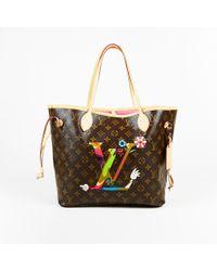 "Louis Vuitton - Brown Monogram Coated Canvas ""murakami Moca Neverfull Gm"" Bag - Lyst"
