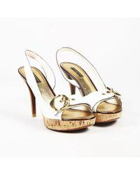 Louis Vuitton - White Leather Open Toe Cork Platform Slingback Sandals - Lyst