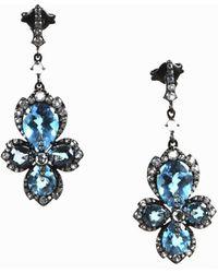 Unbranded - Blue & White Topaz Blackened Sterling Silver 3d Drop Earrings - Lyst