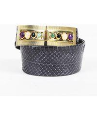 Judith Leiber - Grey Multicolour Python Snakeskin Cabochon Waist Belt - Lyst