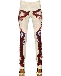 Just Cavalli - Feather Printed Viscose Pants - Lyst