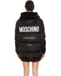 Moschino - Hooded Nylon Logo Printed Puffer Coat - Lyst