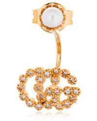 Gucci - 18kt Gold & Diamond Gg Mono Earring - Lyst