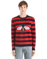 Gucci - Striped Bee Wool Knit Jacquard Sweater - Lyst