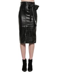 MSGM Croc Embossed Faux Leather Midi Skirt - Black