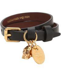 Alexander McQueen - Double Leather Bracelet - Lyst