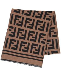 Fendi - Ff Wool & Silk Jacquard Knit Scarf - Lyst