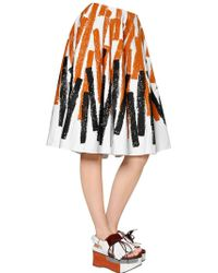 Marni - Printed Cotton & Linen Drill Skirt - Lyst