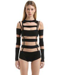 Balmain   Cutout Tulle & Milano Jersey Bodysuit   Lyst