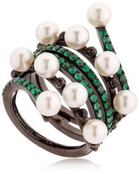 Colette - Entwined Emerald Black Gold Ring - Lyst