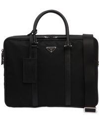 Prada - Nylon Briefcase W/ Leather Details - Lyst