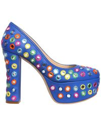 Moschino | 120mm Embellished Leather Court Shoes | Lyst