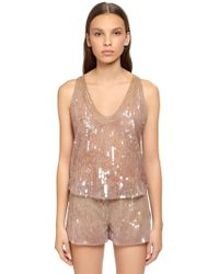 Alberta Ferretti - Beaded & Sequined Tulle Top - Lyst