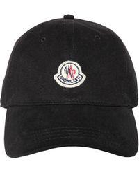 dd435258e90 Moncler - Logo Patch Cotton Hat - Lyst