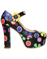 Moschino | 120mm Floral Printed Leather Court Shoes | Lyst